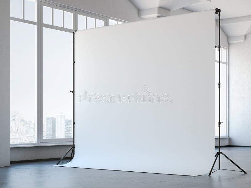 Tom vit studiobakgrund i vindinre framförande 3d arkivfoton