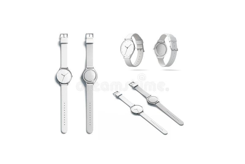 Tom vit uppsättning för klockaklockarmbandmodell, isolerat som är främre och tillbaka royaltyfri illustrationer