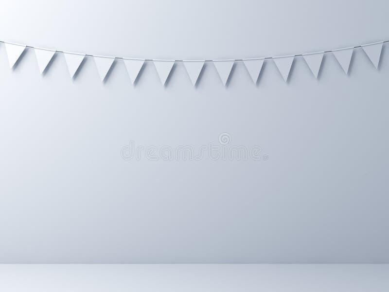 Tom vit väggbakgrund med vit bunting sjunker stock illustrationer