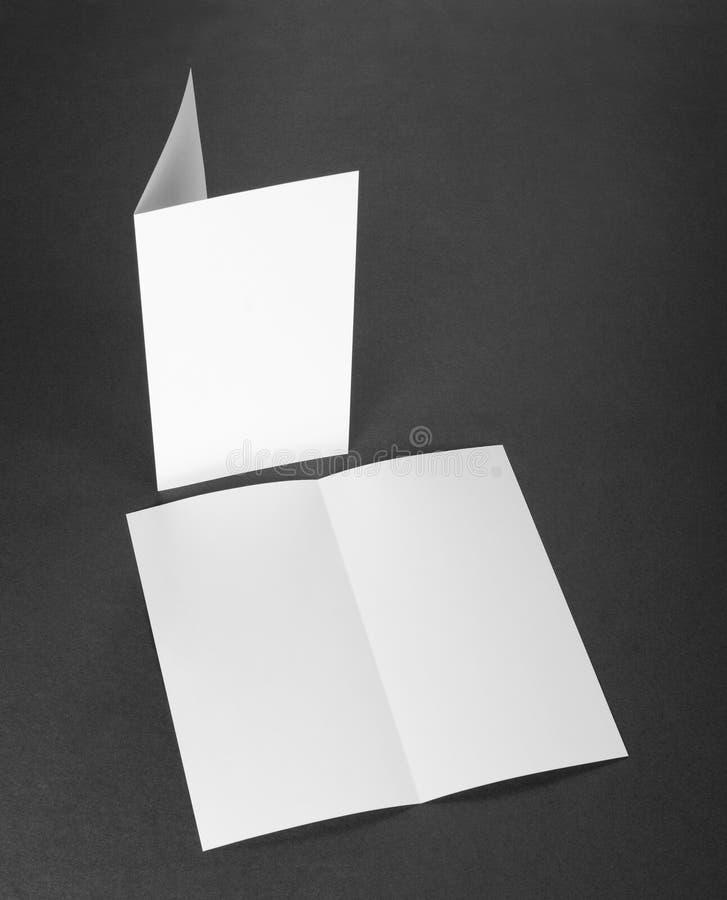 Tom vit vikningpappersreklamblad fotografering för bildbyråer