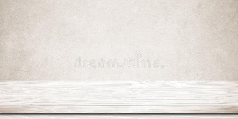 Tom vit wood tabell över brwoncementväggen, tappning, backgrou fotografering för bildbyråer