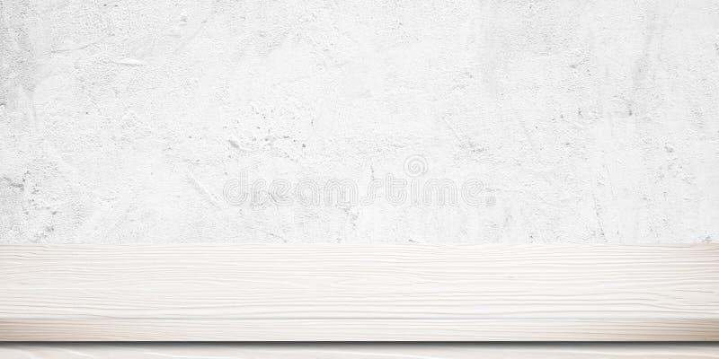 Tom vit wood tabell över väggen för vitt cement, tappning, backgrou fotografering för bildbyråer