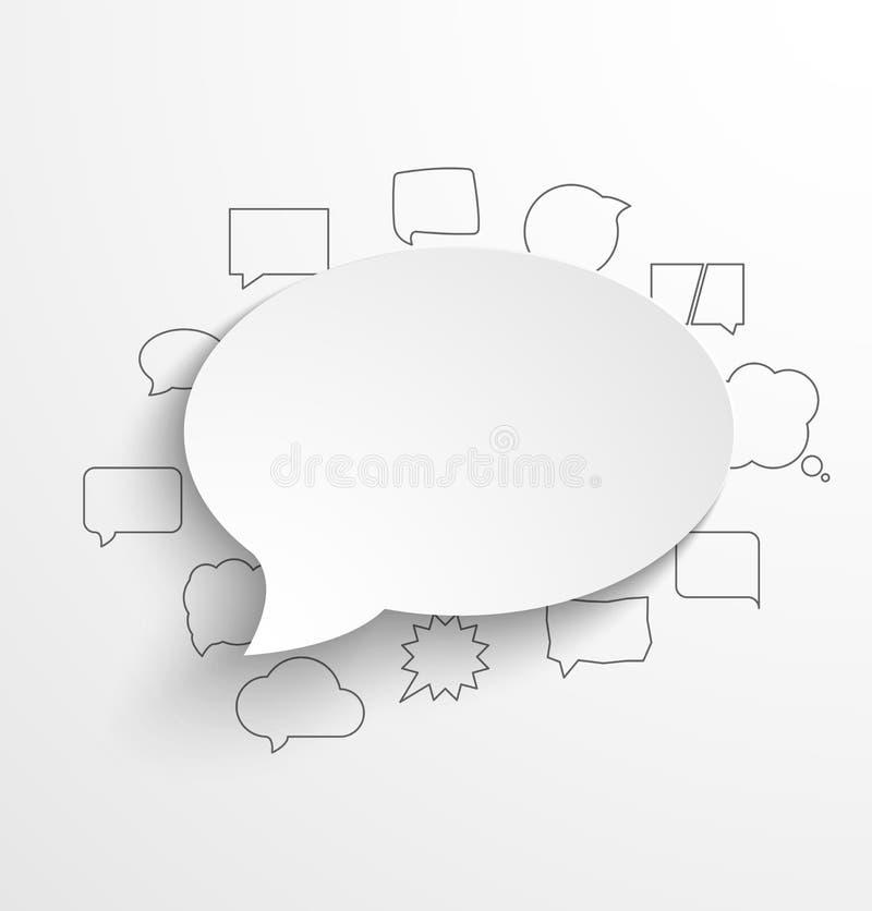 Tom vitbokanförandebubbla med skugga och royaltyfri illustrationer