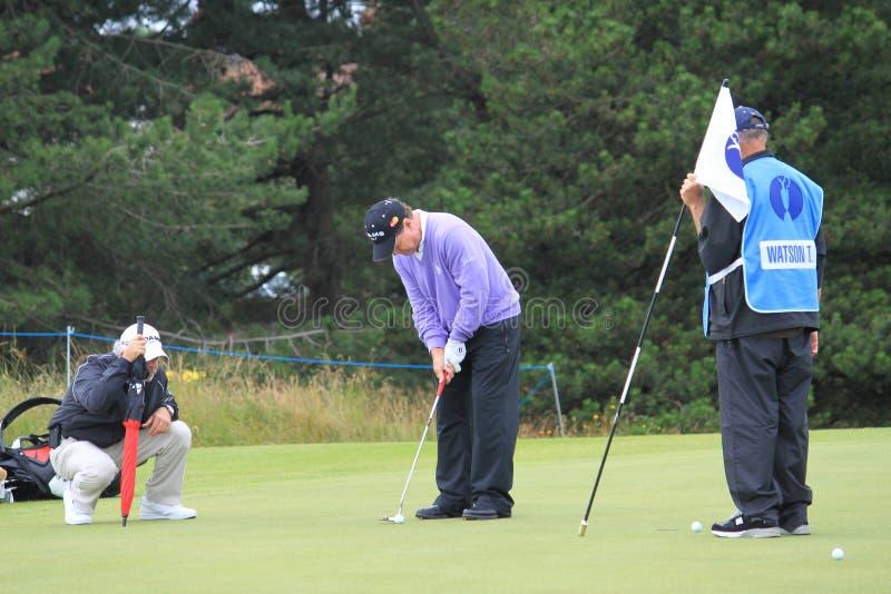 Tom Watson Die Op 8ste Groen Open Golf 2012 Zet Redactionele Afbeelding