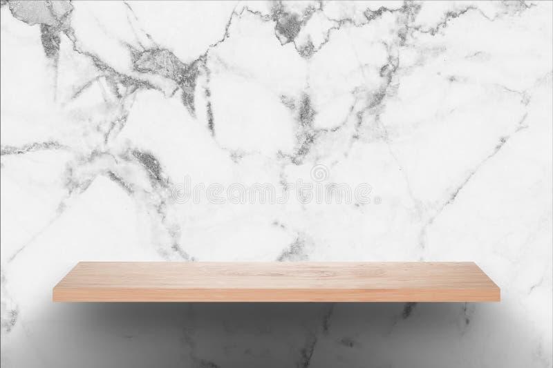 Tom wood stång med svartvit marmorväggbakgrund fotografering för bildbyråer