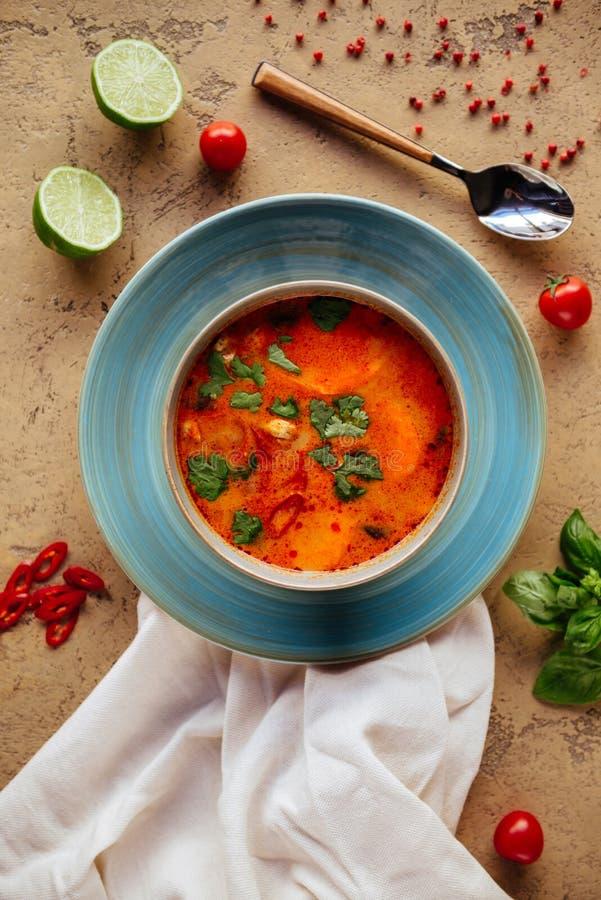 Tom Yam gjorde till kung kryddig thailändsk soppa med räka, skaldjur, mjölkar peppar kokosnöten och chili royaltyfria bilder