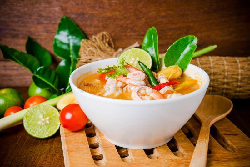 Tom yam kong or Tom yum soup. Thai food. stock photos