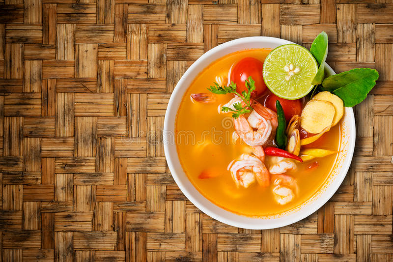 Tom yam kong or Tom yum, Tom yam is a spicy clear soup typical i royalty free stock photos