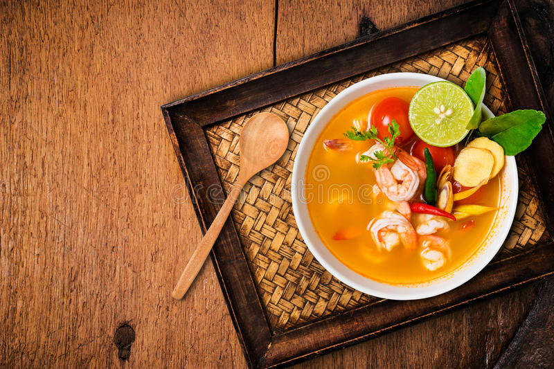 Tom yam kong or Tom yum, Tom yam is a spicy clear soup royalty free stock images