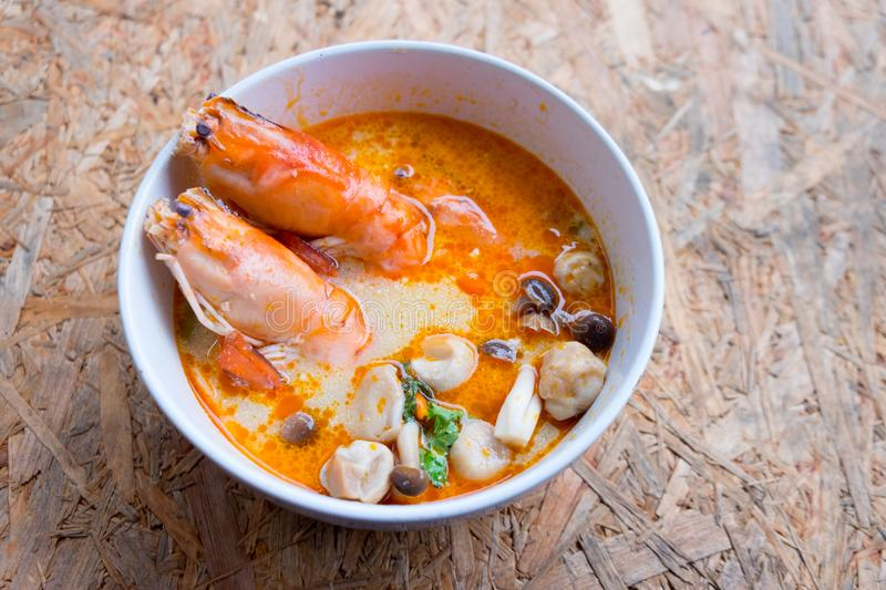 Tom yam kong or Tom yum Tom yam is a spicy soup stock photos
