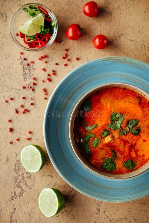 Tom Yam-kung würzige thailändische Suppe mit Garnelen-, Meeresfrüchte-, Kokosmilch- und Paprikapfeffer lizenzfreies stockfoto