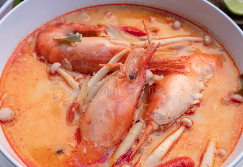 Tom yam kung or Tom yum in a white cup royalty free stock image