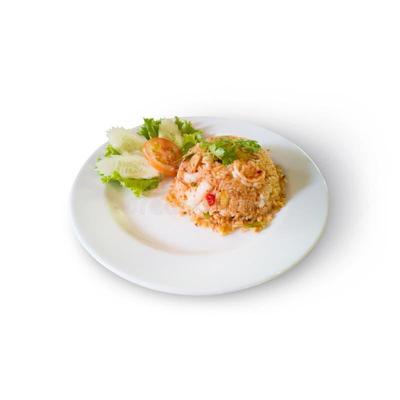 Tom Yam Seafood Fried Rice fotografia de stock