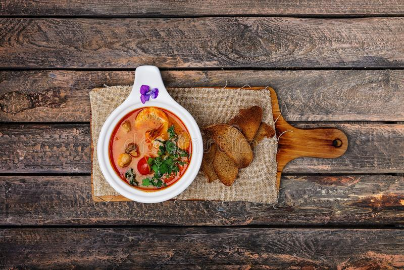 Tom Yam soup with prawns. stock photo