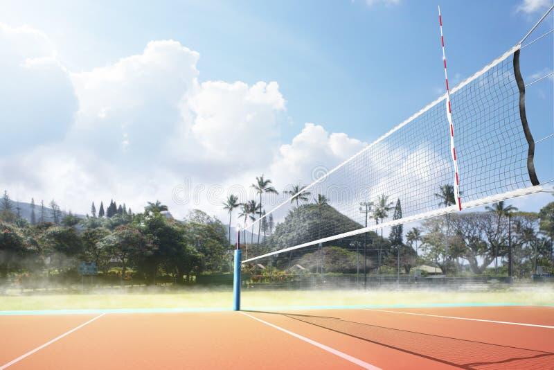 Tom yrkesmässig domstol för öppen luft för volleyboll med netto arkivfoto