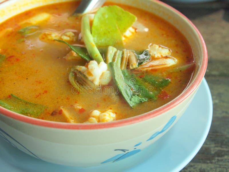Tom Yum Goong - fruits de mer chauds et épicés thaïlandais de soupe avec la crevette photographie stock