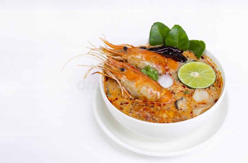 Tom Yum Goong- oder Garnelensuppe traditionelle Nahrung w?rziger saurer Suppe in Thailand stockbild