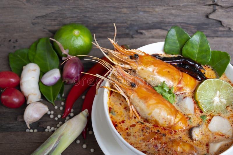 Tom Yum Goong- oder Garnelensuppe traditionelle Nahrung w?rziger saurer Suppe in Thailand lizenzfreie stockbilder