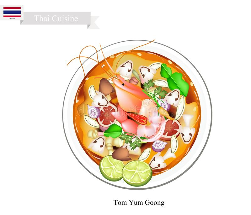 Tom Yum Goong or Thai Spicy and Sour Soup. Thai Cuisine, Tom Yum Goong or Traditional Thai Thai Spicy and Sour Soup with Shrimps, Mushroom, Coconut Milk and stock illustration