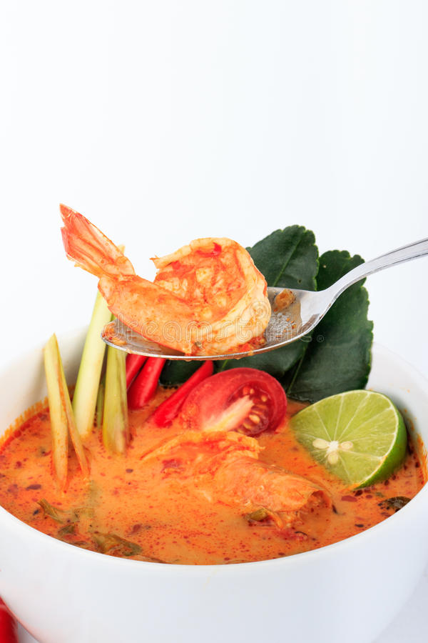 Tom Yum Goong, the Thai style hot and sour prawn soup stock photos