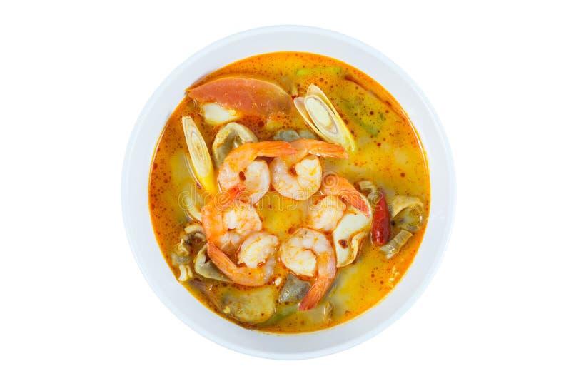 Tom Yum Goong - Thaise hete en kruidige soep met garnalen royalty-vrije stock foto's
