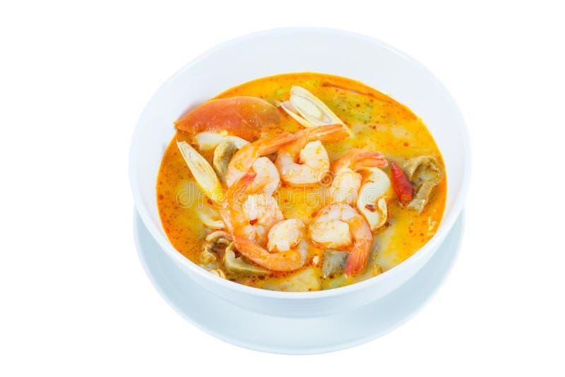 Tom Yum Goong - Thaise hete en kruidige soep met garnalen - Thaise Cuisi stock foto