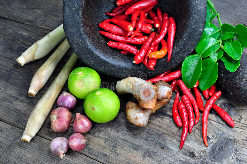 Tom yum herbal ingredients royalty free stock images