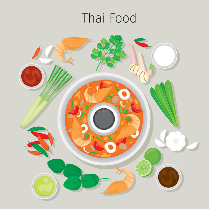 Tom Yum Kung And Ingredients illustration stock