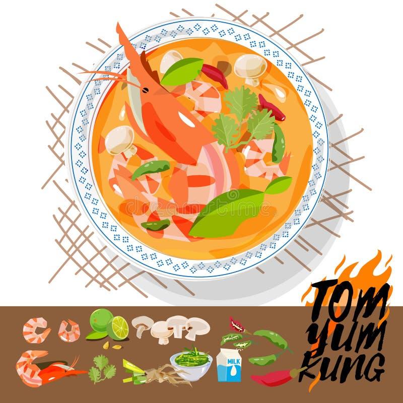 Tom Yum Kung med ingredienser Thailändskt matbegrepp - illust royaltyfri illustrationer