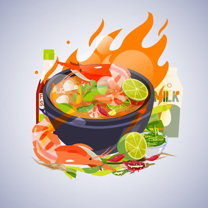Tom Yum Kung med ingredienser Thailändskt matbegrepp - vektor stock illustrationer