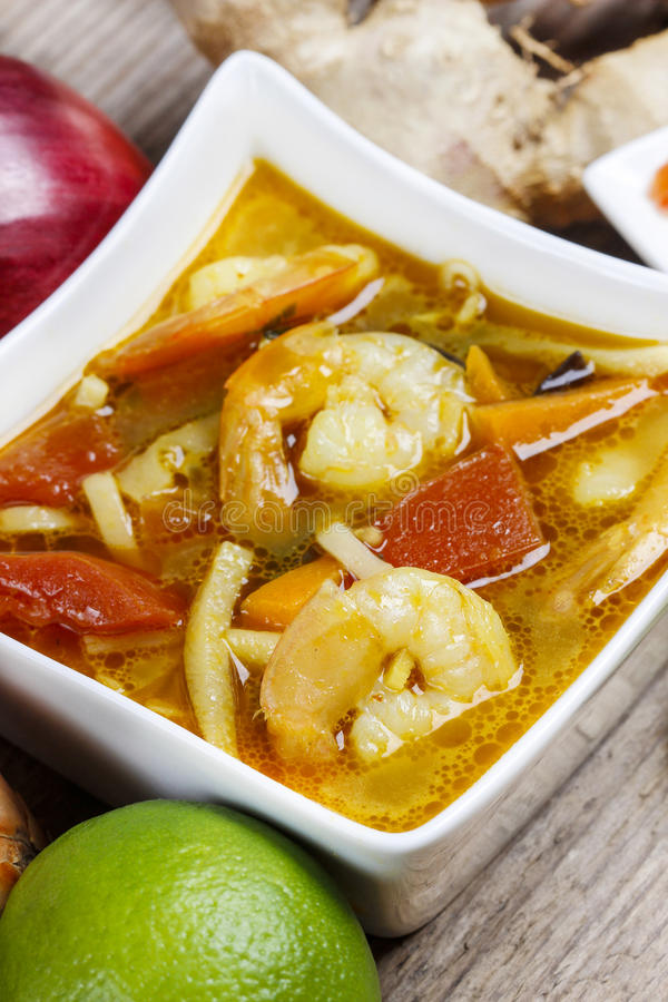 Tom yum kung simple and popular Thai hot and sour soup stock images