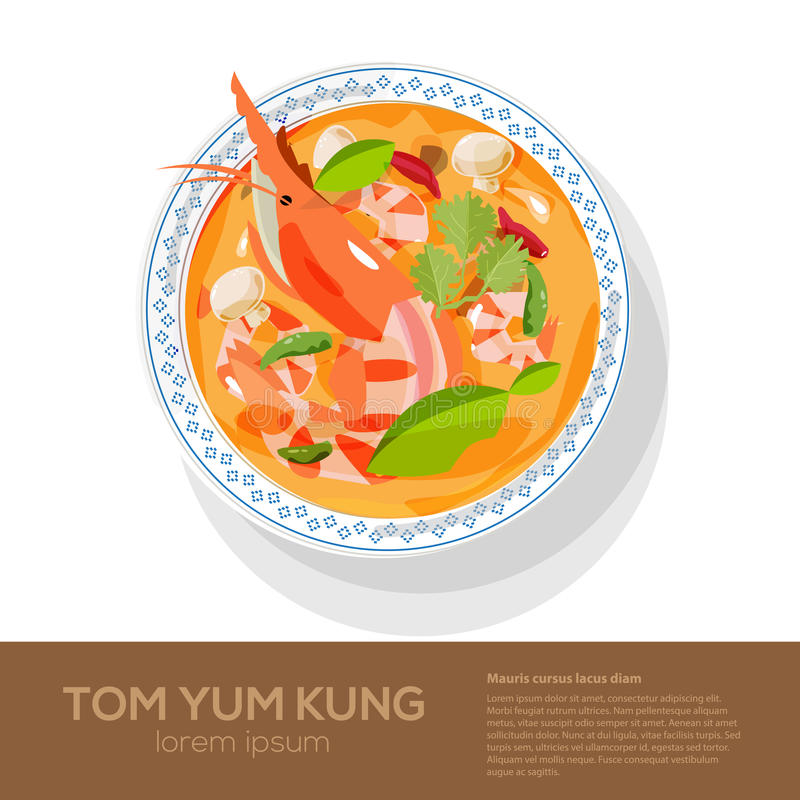 Tom Yum Kung on top view -. Illustration vector illustration