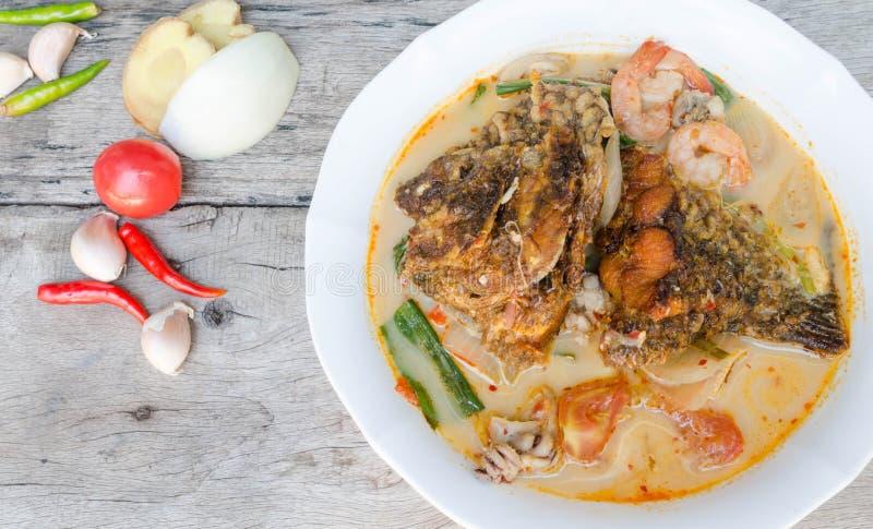 Tom Yum Kung y pescados - sopa picante tailandesa imagen de archivo