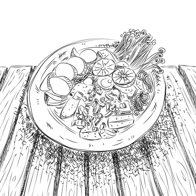 Tom Yum med tofuen och nya ägg med champinjoner som strilas med koriander och salladslök skissar in, stil vektor illustrationer