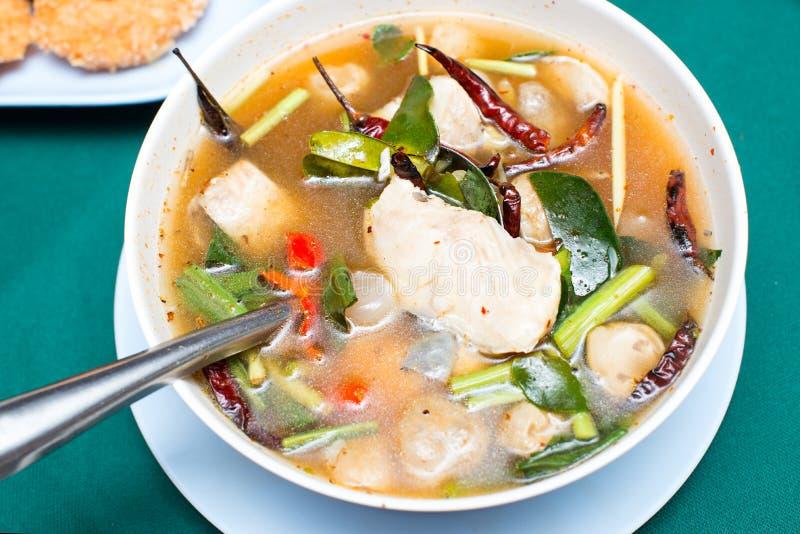 Tom yum soppa, kryddig soppa för thailändsk stil med fisken royaltyfri foto