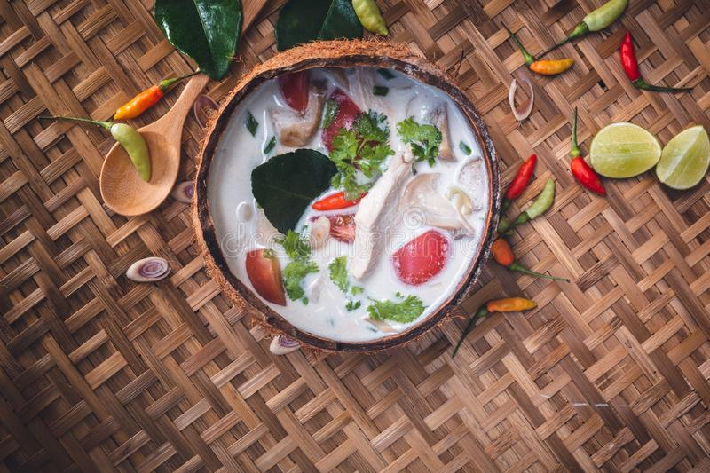 Tom Yum Soup, Thailand Food. On wooden background royalty free stock image
