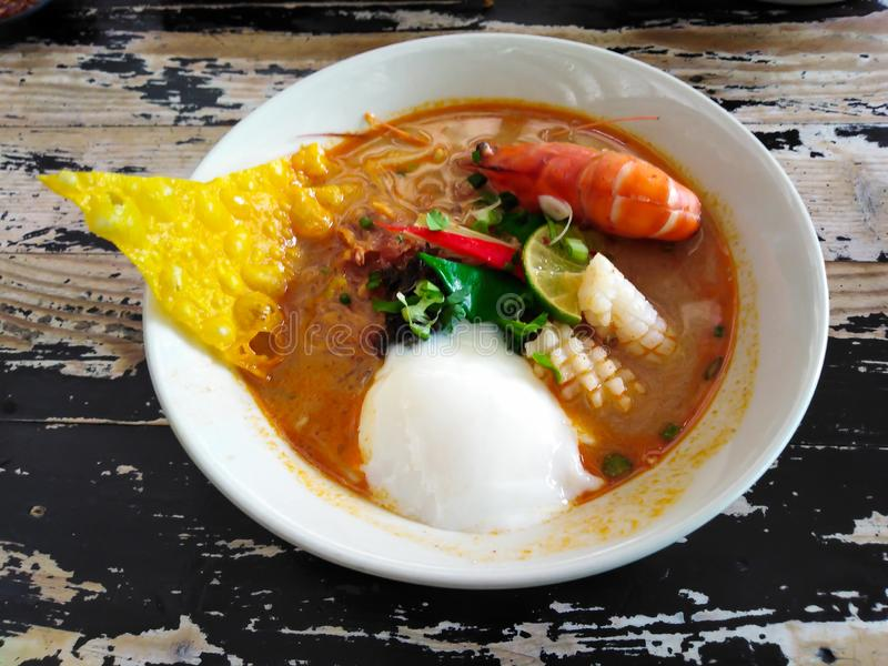 Tom Yum Spicy Soup Noodle immagine stock