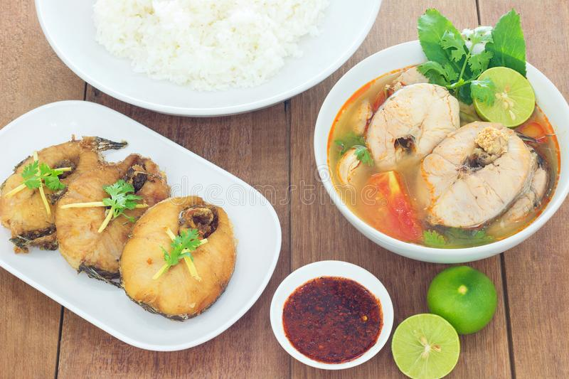 Tom Yum striped snakehead fish and Fried striped snakehead fish. stock photos