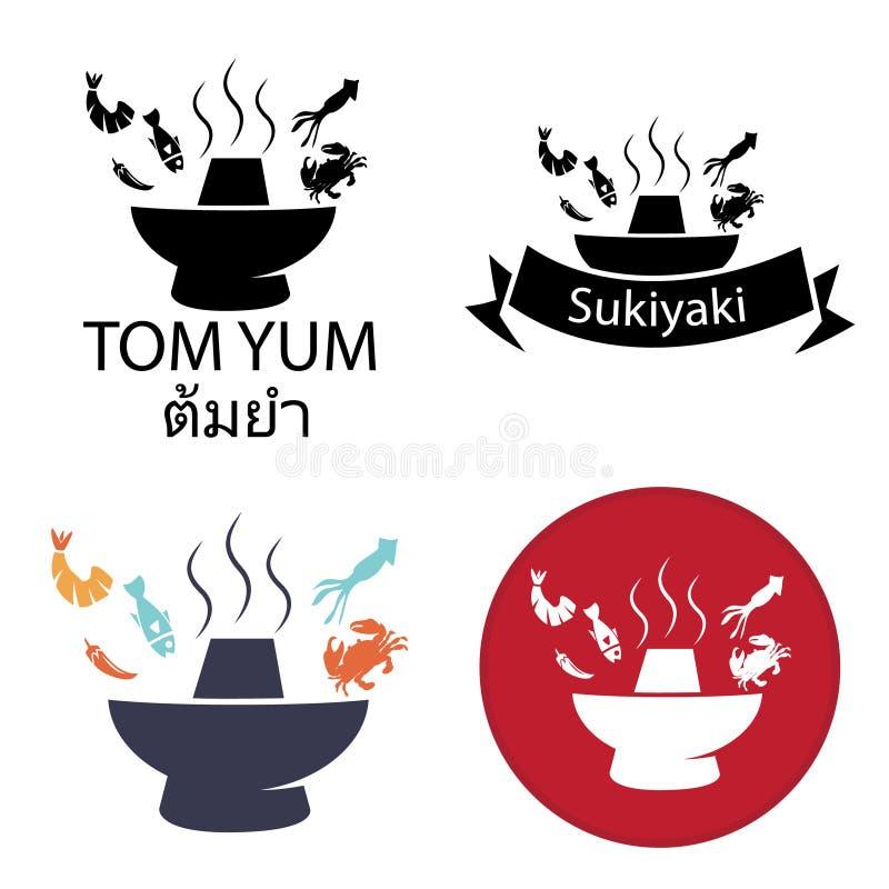 Tom Yum, Sukiyaki, logotipo quente picante do potenciômetro e ícone ilustração stock