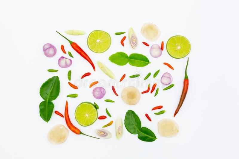 Tom Yum, Thaise ingrediënten voor Thais voedsel, populaire soep Tom Yum, op witte achtergrond royalty-vrije stock fotografie