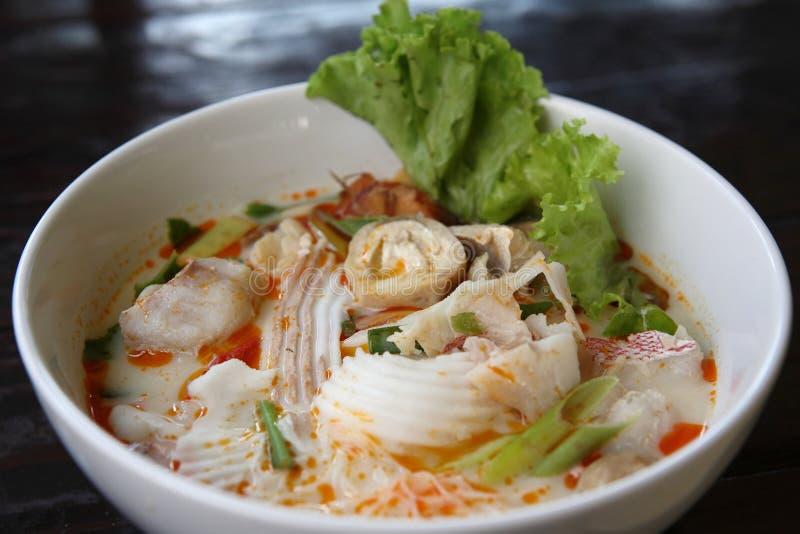 Tom yum, würzige Suppe-siamesische Art stockbild