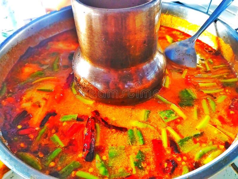 Tom Yum-zeevruchten hotpot  royalty-vrije stock afbeeldingen