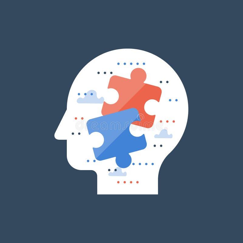 Toma de decisión, lógica y pensamiento crítico, solución simple, psiquiatría y analytics, terreno común y compromiso stock de ilustración