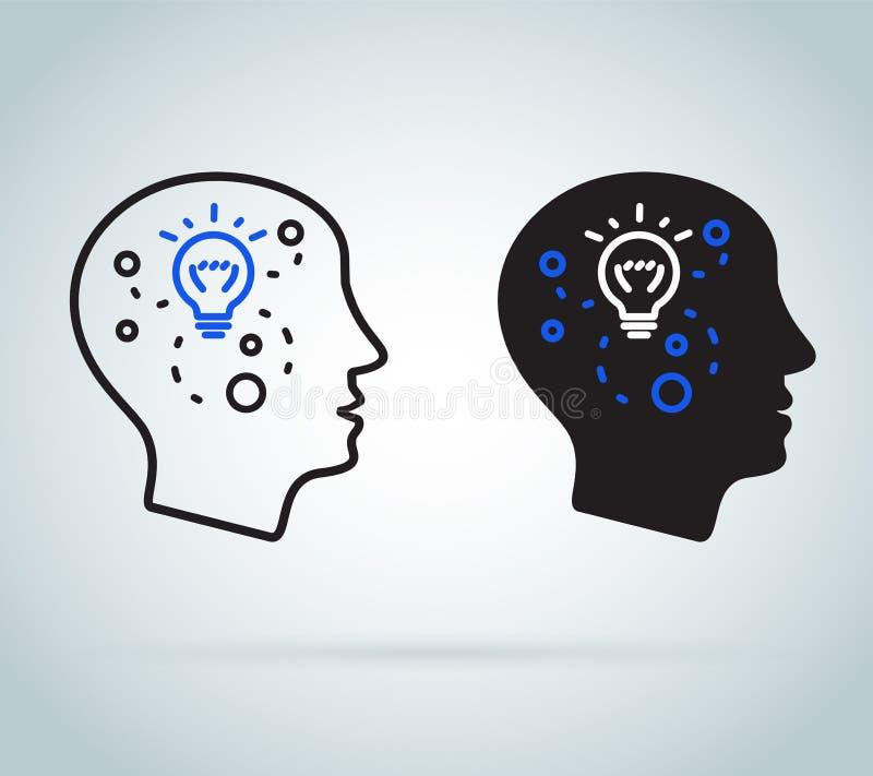 Toma de decisión o inteligencia emocional Psicología y neurología positivas, ciencia del modo de pensar de las habilidades del co stock de ilustración