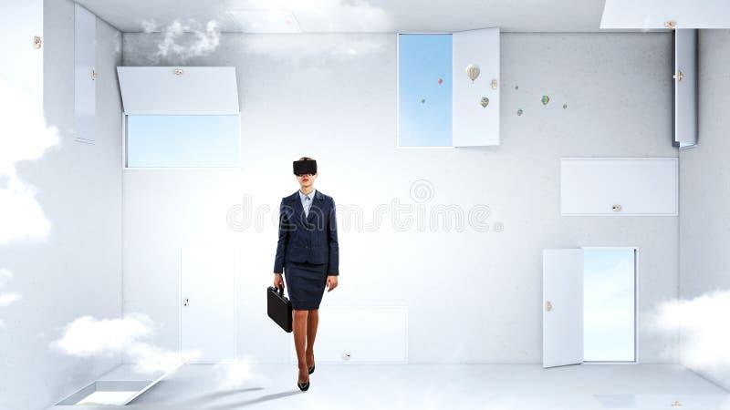 Toma de decisi?n correcta y realidad virtual T?cnicas mixtas imagen de archivo