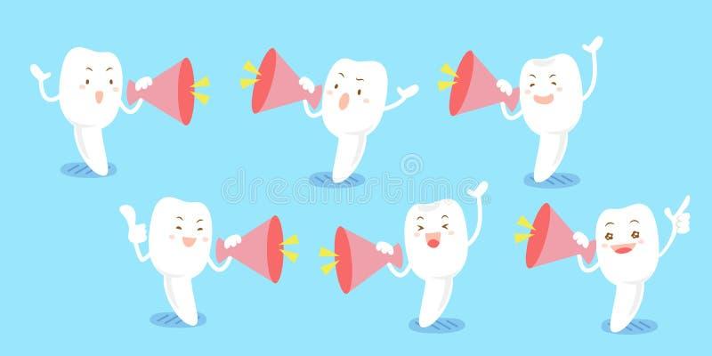 Toma del diente de leche de la historieta en alta voz stock de ilustración
