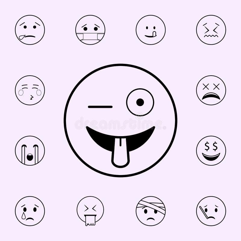 toma el pelo el icono Sistema universal de los iconos de Emoji para la web y el m?vil ilustración del vector
