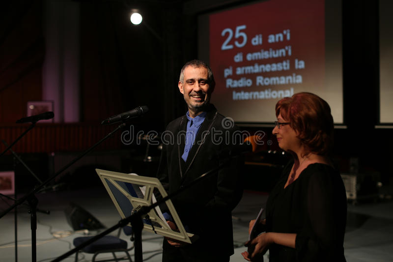 Toma Enache and Aurica Piha. The Aromanian actors, at Radio Romania International, the anniversary event for 25 years of activity royalty free stock photo