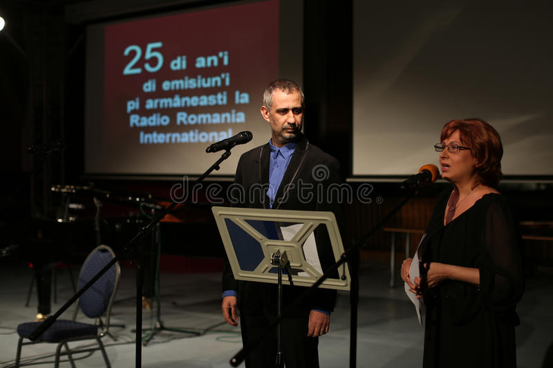 Toma Enache and Aurica Piha. The Aromanian actors, at Radio Romania International, the anniversary event for 25 years of activity, Gala Radio royalty free stock photography
