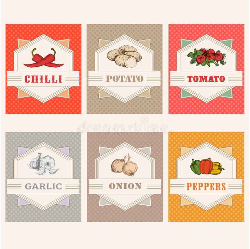 tomaat, aardappel, koele ui, vector illustratie